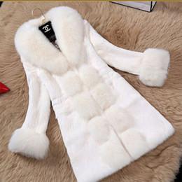 Wholesale Rabbit Hair Collars - Large size fox fur collar women's coat imitation fur 2018 new imitation Rex rabbit hair fur coat long coat female F3