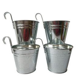 Wholesale Wholesale Planters Box - Free shipping Big Size 14.5*12.5*17.5cm garden bucket tin box Iron pots flower metal Hanging Planter