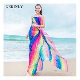 Wholesale Striped Beach Cover Ups - GERINLY Pareo Scarf Women's 150*180cm Long Striped Rainbow Print Chiffon Sarongs Hijab Beach Swimsuit Cover Up Bikini Scarves