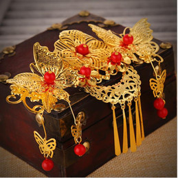 Wholesale Chinese Silk Costume - Bride headdress red costume tassel hair combs Chinese wedding dresses dress cheongsam accessories