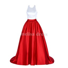 Wholesale Two Tone Ball Gowns - Real Samples Ball Gown Gorgeous Two Pieces Two Tones Prom Gowns Halter Neck Backless Prom Dresses Ruffles Satin Robe De Soiree