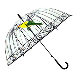 Wholesale Metal Bird Cages - Transparent Umbrella Bird Cage Adult Kid Umbrella EVC Long Handle Umbrella Rain Four Style Free Ship
