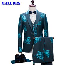 herren anzüge dunkelblau Rabatt Dark Blue 3D Floral Style Anzug Herren Blazer Herren Sänger Bühne Slim Fit Bräutigam Hochzeit Prom Business Mens Tuxedo 3 Stück