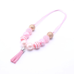 Wholesale Kids Animal Necklaces - MSH.SUN 2pcs Kids Handmade DIY necklace Sweet Pink+Gold color beads necklace Chunky bubblegum Necklace Adjustable Rope New BN161
