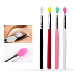 Wholesale Nail Makeup Brush - New Makeup Soft Silicone Head Brush Wood Eye Shadow Face Powder Glitter Foundation Eyebrow Lip Cream Tools Cosmetic Beauty Nails