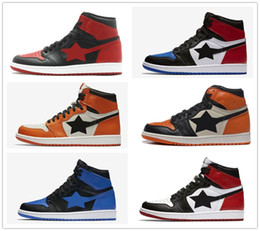 Wholesale Man Black Leather Shoes - retro 1 basketball shoes bred banned Top 3 royal reverse shattered backboard Black Toe Chicago UNC Metallic Red men women sneakers US5.5-13
