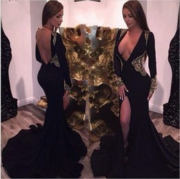 Wholesale Tuxedo Mermaid Dress - 2017 sexy and deep V mermaid evening gown with a black dress with a black tuxedo and black lady's PROM dress