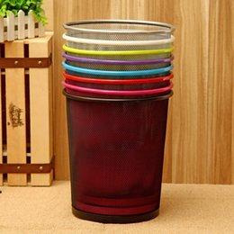 Wholesale Trash Bins Stainless Steel - 7 Color Classic Style Trash Bin Metal Iron Mesh Wastebasket Paper Basket Trash Can Dustbin Garbage Bin without Lid