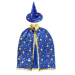 Wholesale Fancy Children - Halloween Cloak Cap Costumes Fancy Dress Children Party Cosplay Prop for Festival Witch Wizard Star Robe and Hats Costume Cape Kids