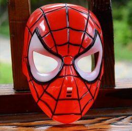 Wholesale Make Up Led - Spiderman Mask LED Glowing Light Mask Halloween Mask cosplay Glowing Spiderman Eyes Make Up Toy for Kids Boys