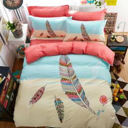 Wholesale Cotton Duvet Covers Single - Wholesale-Fashion feather pattern high end cotton linens bedding sets Twin Single Double Queen size duvet cover+bedsheet+pillowcases