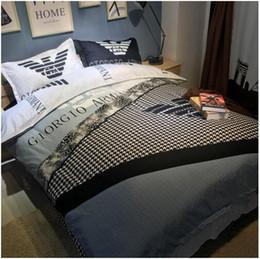 Wholesale Duvet 3d - 3D Bedding Set Bedsheet Reactive Printing Letter Pattern Queen Size Home Textiles Duvet Covers Bed Linen Pillow Cases