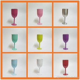 Wholesale Wedding Gift Goblets - Fashion 10oz Stainless Steel Wine Glass 9 Colors Double Wall Insulated Metal Goblet With Lid Tumbler Red Wine Mugs Beer Mug