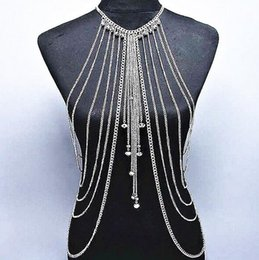 Wholesale Covering Chain Necklace Wholesale - 12pcs Bikini coin body chain belly body chainTassel Crossover Harness Necklace Body Jewelry Festival Party Cover F298