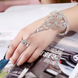 Wholesale Gold Slave Bracelets - Wholesale-Luxury Bridal Wedding Bracelet For Women Hand Chain Rhinestone Hollow Flower Slave Bracelets Bangles Wristband Cuff Bangle Gift