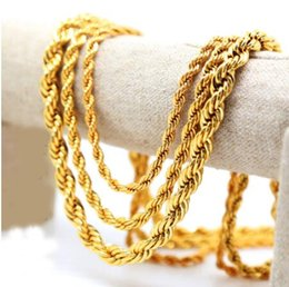 Wholesale 24k Gold Necklace Twist Chain - AAAAA quality 24K gold Men hip hop Solid Rope Chain gold color Twisted Long Heavy Dookie Necklace Young Jeezy Style Chain