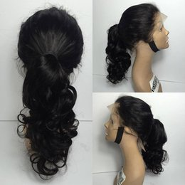 Wholesale Ponytail Wig Black - Full Lace Human Hair Wigs Virgin Brazilin body wave Human Hair Wigs for black women With Baby Hair beautiful high ponytail