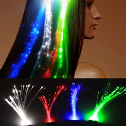 Wholesale Wholesale Colorful Hair Extensions - Fashional LED hair Extension Colorful Flash LED Braid Novelty Decoration for Halloween Christmas Party Festival Bar gifts DHL free shipping