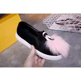 Wholesale Cartoon Shoe Laces - 2017Fendi Flat and comfortable Casual shoes Cartoon character and Pale pink plush decoration Flat shoes female New style shoes