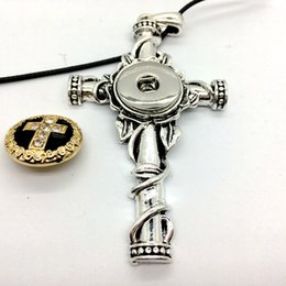 Wholesale Cross Necklace Antique - Snap Pendant Cross Necklace Diy Snaps Jewelry Antique Silver Pendant Necklace Interchangeable Jewelry Snaps Button 18mm Fit Ginger Snap 18mm