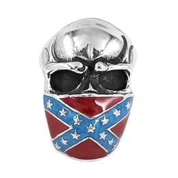 Deutschland Kostenloser Versand! Klassische amerikanische Flagge Infidel Schädel Ring Edelstahl Schmuck Vintage Stern Motor Biker Männer Ring SWR0658 Versorgung