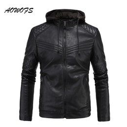 Wholesale Mens Quilted Leather - AOWOFS 2017 mens leather jackets with hood slim fit flocking jackets men quilted motorcycle mens jackets and coats brand clothes