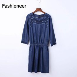 Wholesale Denim Jeans Dress For Women - Fashioneer Mini Dress For Woman Jeans Floral Embroidery Sashes O Neck Long Sleeve Denim Summer Slim Dresses For Women Lady S-L Size
