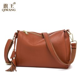 Wholesale China Luxury Bags - Wholesale- Qiwang Summer Soft COW Leather Bag Luxury 2016 Hot Fashion Women Brown Handbags Genuine Leather Female Bag Made in China