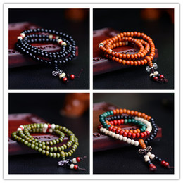 Wholesale Silver Tibetan Prayer Beads - 108 * 0.6 Natural Prayer Beads Tibetan Buddhist Bracelets Mala Buddha Rosary Necklace Wooden Jewelry NE644