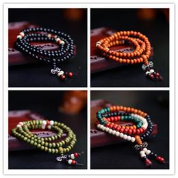 Wholesale Tibetan Buddhist Mala Prayer Beads - 108 * 0.6 Natural Prayer Beads Tibetan Buddhist Bracelets Mala Buddha Rosary Necklace Wooden Jewelry NE644