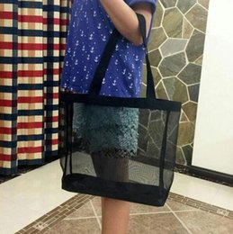 Wholesale flat shopping - VIP gift Custom Fashion Storage Shoulder Bag Black Gauze Shopping Bag Eco-Friendly Large Beach Bag Woman Casual Handbag Simple Schoolbag