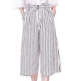 Wholesale Linen Pants Big Legged - New Arrival 2016 High Quality Women's Summer Linen Divided stripe Skirt pants big Wide leg Capris pants