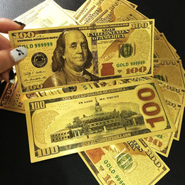 Wholesale Money Draw - Props Money 24K Gold Foil Dollar $100 USD Bills Commemorative Collections Banknote Colorful fake Paper Money Home Decor Arts Christmas Gifts