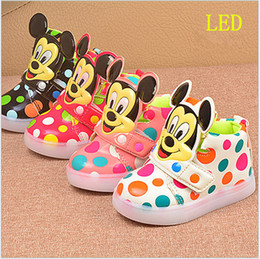 Wholesale China Red Bottom Shoes - China supply cheap shoes kids 2017 new hot cartoon mouse colours dots spring light led cute shoes girl child rubber bottom 21-30 4 color