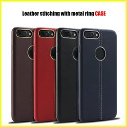 Wholesale Browning Car - For iPhone 8  8plus   7 7plus   6s New Leather Car Line Plus Metal Ring Phone Case Business Soft Case Wholesale via Free Shipping