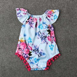Wholesale Newborn Clothes Onesies - 2016 Baby Sleeveless Purple Floral Clothes Girls Newborn Romper Infant Cotton Onesies Jumpsuit Summer Clothing