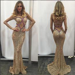 Wholesale Zoe Dresses - 2017 Evening dress Lillyghalichi Beads Charbel zoe Mermaid Floor length Yousef aljasmi Long sleeve Kim kardahisn Zuhair murad Celebrity Gown