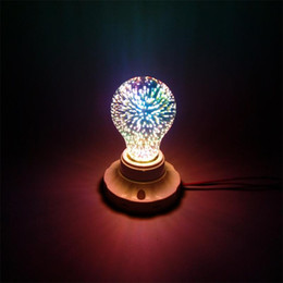 Wholesale Magic Star Light - Magic E27 3D Silver Plated Glass LED Colourful Dream Fantasy Fireworks Edison Star Retro Filament Light Bulb A60 for Holiday Christmas Party