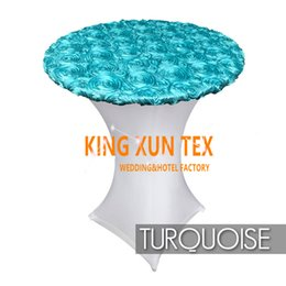 Wholesale Cover Table Top - New Design Lycra Spandex Cocktail Table Cover \ Table Cloth Top With Satin Rosette Fabric Free Shipping