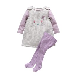 Wholesale Thickening Pantyhose - Wholesale- 2016 New Baby Girl Clothes Newborn Baby Thickening Cotton Cat Dress +Stripe Romper+ Purple Pantyhose 3pcs Clothing Set