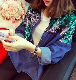 Wholesale Nail Breast - Wholesale- [soonyour] 2016 new autumn winter fashion Fund Nail Pearl Cowboy Loose Coat Short Loose Coat Jacket Sequins woman AL5601