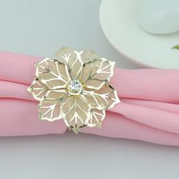 Wholesale Golden Napkins - Wholesale- 12pc New Diamond Golden Leaf Napkin Ring Serviette Holder Wedding Banquet Dinner Decor Favor Napkin buckle
