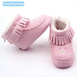 Wholesale Boys Add - Wholesale- New Arrival Small Flowers Zip and Fringe Add Plush Warm Baby Girl Winter Boots Shoes For 0-15 Months