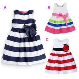 Wholesale Clothe Flowers - Summer baby girl striped princess skirt dress chiffon flowers skirt Chic Party Cute girls Dress Children's Clothes 3 Colors