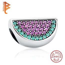 Wholesale Pandora Pave Heart Charms - BELAWANG Clear Cubic Zircon Pave Watermelon Charms Fit Pandora Charm Bracelet&Necklace Summer 925 Sterling Silver Beads For Jewelry Making
