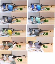 Wholesale Vintage Half Frame Sunglasses Wholesale - 10pcs summer Fashion Men metal Sunglasses UV Protection Outdoor Sport Vintage Women mirror Sun glasses Retro Eyewear 9colors free ship
