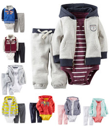 Wholesale Light Blue Bodysuit - ship Set bebes girl Baby Party 2017 Winter Clothes Bodysuit Cotton Clothing Sets Newborn Baby Girl Clothing Casual