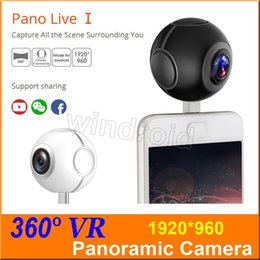 Wholesale Mini I Phones - Pano Live I mini 360 video camera VR Panoramic Camera portable pocket Camera Dual Lens for Type-c Micro usb android phones Free shipping