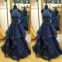 Wholesale Crystal Cut Out Evening Dresses - Sparkly Luxury 2 Piece Prom Dresses 2017 Sexy Prom Dress Beaded Crystals Pearls Top Cut Out Zipper Back Beaded Tulle Evening Party Gowns