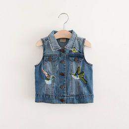 Wholesale Girls Hood Down Coat - 2017 Autumn New Girls Waistcoat Birds Embroidered Denim Coat Children Clothing 2-8Y E316536